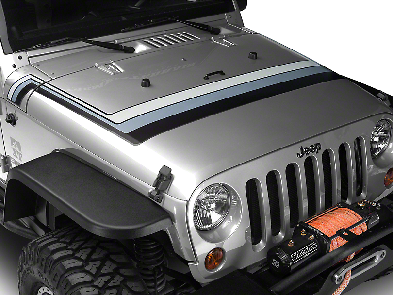 Retro Style Hood Stripes - Black & Gray (07-19 Jeep Wrangler JK & JL)