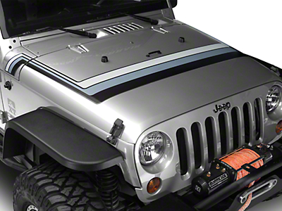 Retro Style Hood Stripes - Black & Gray (07-18 Wrangler JK; 2018 Wrangler JL)