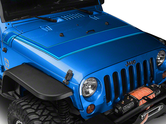 Retro Style Pinstriped Hood Stripes - Blue (07-19 Jeep Wrangler JK & JL)