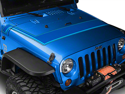 Retro Style Pinstriped Hood Stripes - Blue (07-18 Wrangler JK; 2018 Wrangler JL)