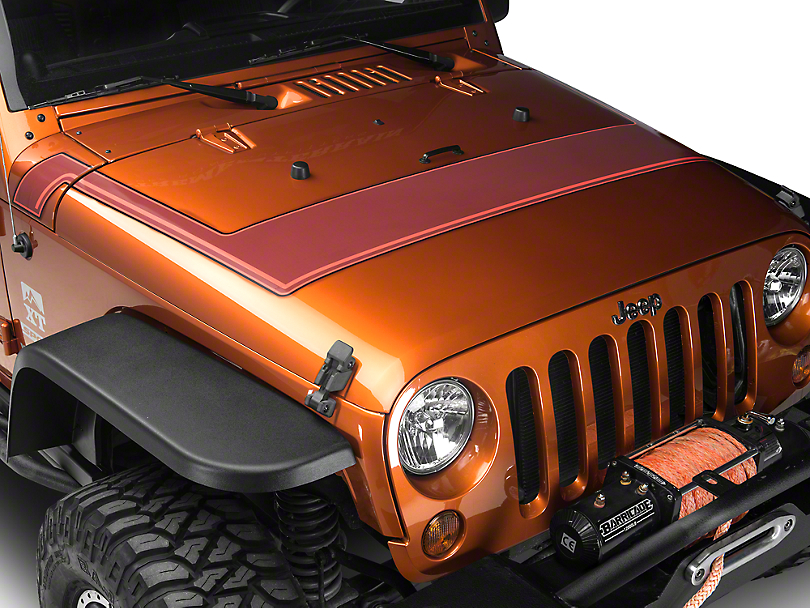 Retro Style Pinstriped Hood Stripes - Orange (07-18 Jeep Wrangler JK; 2018 Jeep Wrangler JL)