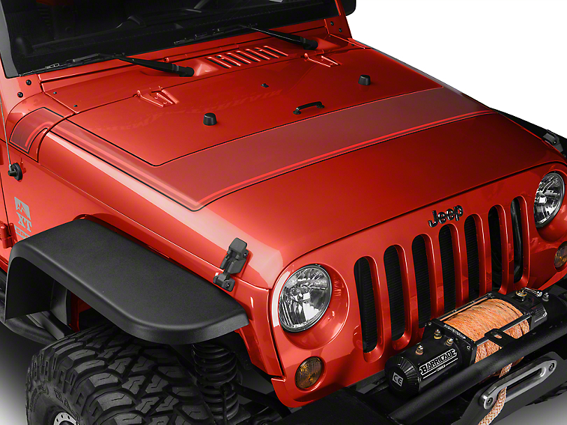 Retro Style Pinstriped Hood Stripes - Red (07-18 Wrangler JK; 2018 Wrangler JL)