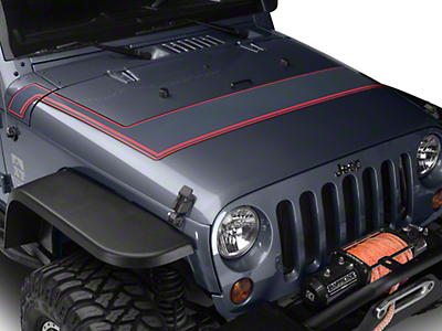 Retro Style Pinstriped Hood Stripes - Gray & Red (07-18 Wrangler JK; 2018 Wrangler JL)