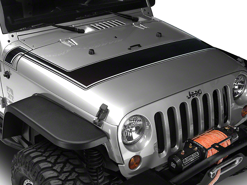 Retro Style Pinstriped Hood Stripes - Black & Gray (07-18 Wrangler JK; 2018 Wrangler JL)