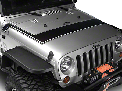 Retro Style Pinstriped Hood Stripes - Black & Gray (07-18 Jeep Wrangler JK; 2018 Jeep Wrangler JL)