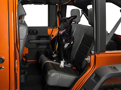 Pet Backseat Auto Zip Line w/ Leash (87-18 Jeep Wrangler YJ, TJ, JK & JL)
