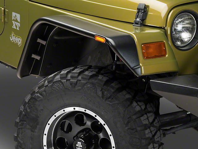 Jeep Wrangler Fenders >> Barricade Jeep Wrangler Flat Style Fender Flares J102429 97 06 Jeep