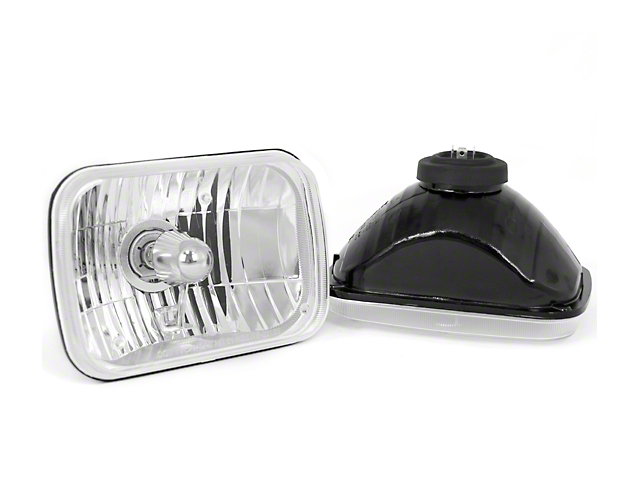 Rugged Ridge Crystal H2 Rectangular Headlights; Chrome Housing; Clear Lens (87-95 Jeep Wrangler YJ)