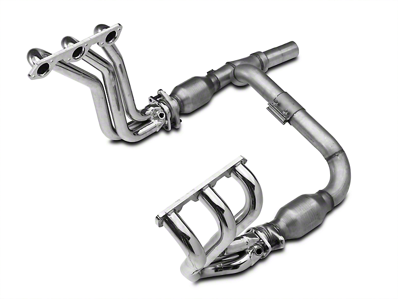 BBK Chrome Full-Length Headers w/ Y-Pipe - Catted (07-11 3.8L Jeep Wrangler JK)