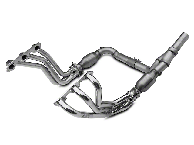 BBK 1-5/8-Inch Full-Length Long Tube Headers with Catted Y-Pipe; Ceramic (07-11 3.8L Jeep Wrangler JK)