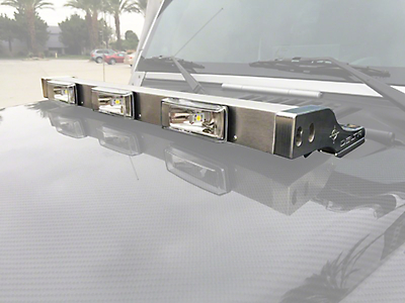 Delta Aluminum LED Hood Light Bar - Silver (97-18 Jeep Wrangler TJ & JK)