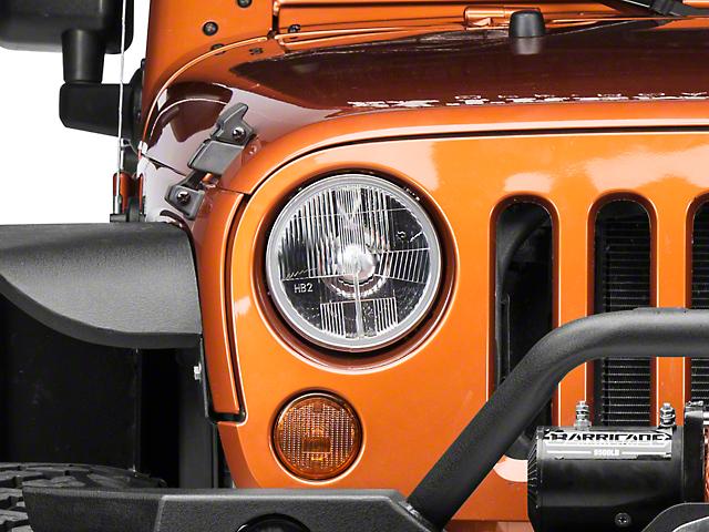 Delta 7-Inch Halogen Headlights; Chrome Housing; Clear Lens (07-18 Jeep Wrangler JK)