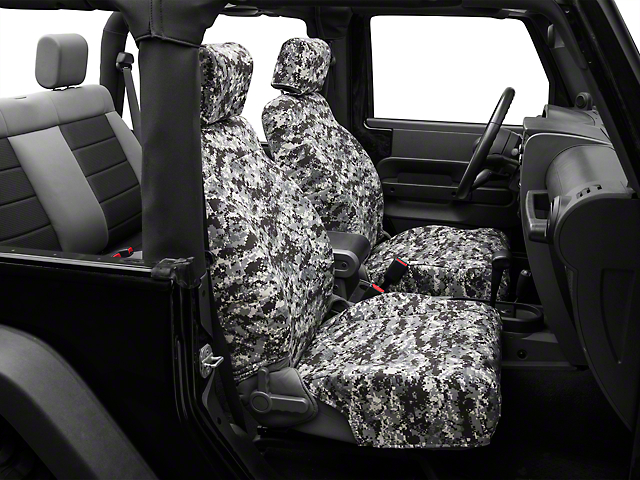Caltrend Urban Camouflage Front Seat Covers - w/ Airbags (07-10 Wrangler JK 2-Door)