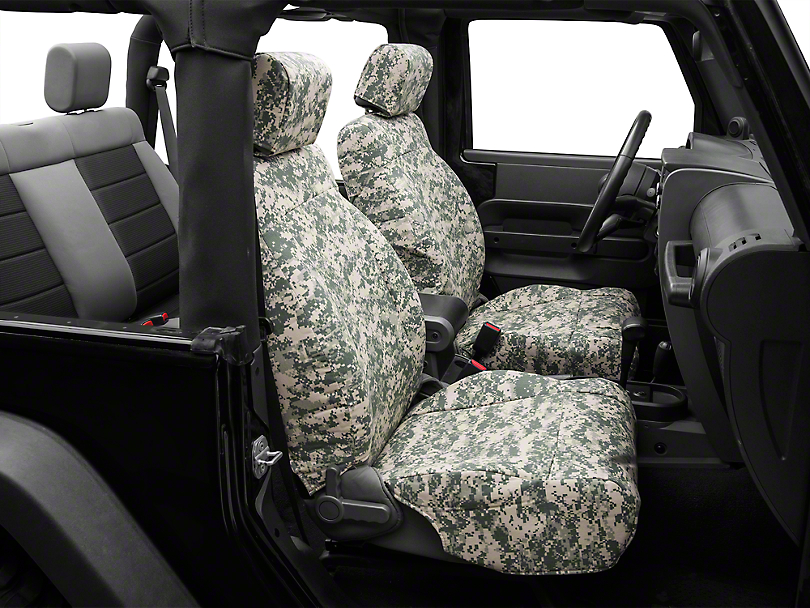 Caltrend Forest Camouflage Front Seat Covers - w/ Airbags (07-10 Jeep Wrangler JK 2 Door)
