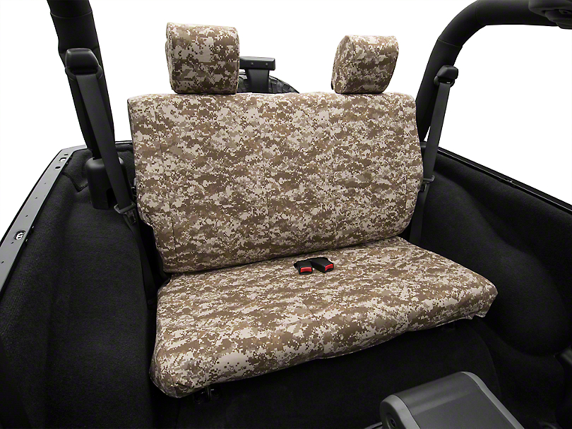 Desert Camouflage Rear Seat Cover - Solid Bench (07-10 Jeep Wrangler JK 2 Door)