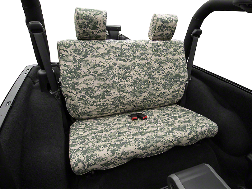 Caltrend Forest Camouflage Rear Seat Cover - Solid Bench (07-10 Wrangler JK 2-Door)