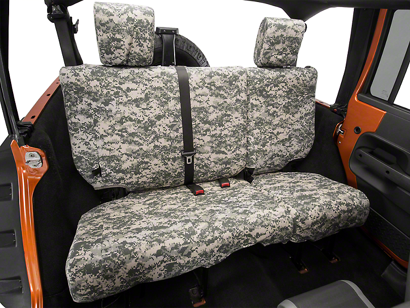 Caltrend Forest Camouflage Rear Seat Cover - Reclining 40/60 Split Bench (07-10 Wrangler JK 4 Door)