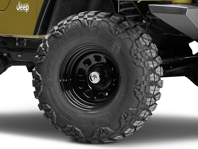 Mammoth D Window Black Wagon Wheel Edition Steel Wheel; 15x8 (97-06 Jeep Wrangler TJ)