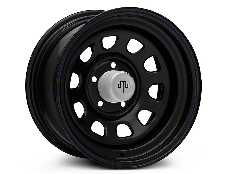 Mammoth D Window Black Wagon Wheel Edition Steel Wheel - 15x8 (87-95 Jeep Wrangler YJ)