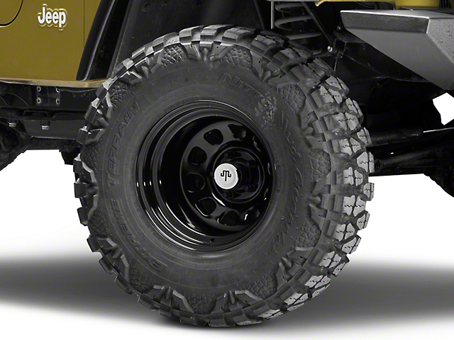 Mammoth D Window Black Wagon Wheel Edition Steel Wheel - 15x10 (97-06 Jeep Wrangler TJ)