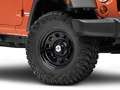 Mammoth D Window Black Wagon Wheel Edition Steel Wheel 17x9 (07-18 Wrangler JK; 2018 Wrangler JL)