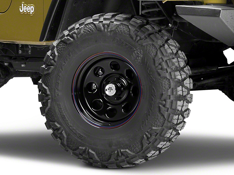 Mammoth 8 Black Wagon Wheel Edition Steel Wheel - 15x8 (87-06 Wrangler YJ & TJ)