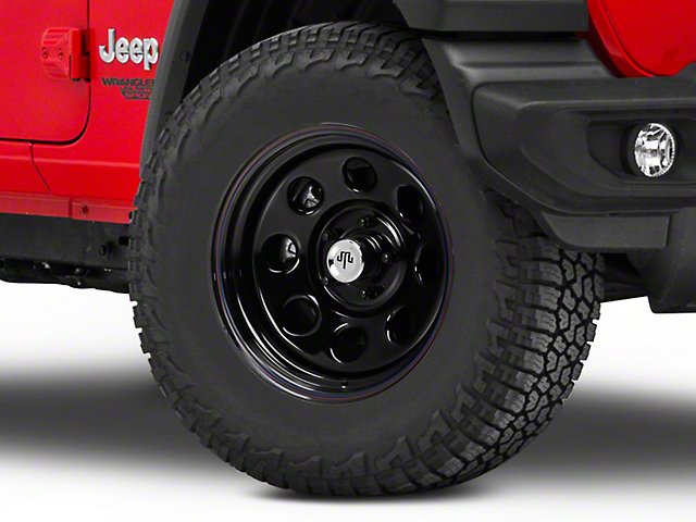 Mammoth 8 Steel Black Wheel w/ Polished Center Cap - 17x9 (18-19 Jeep Wrangler JL)