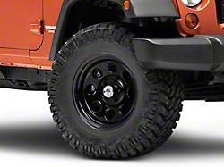 Mammoth 8 Steel Black Wheel with Polished Center Cap; 17x9 (07-18 Jeep Wrangler JK)