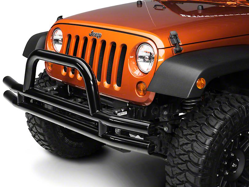 Smittybilt 3 in. Front Tubular Bumper w/ Hoop - Gloss Black (07-18 Jeep Wrangler JK)