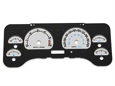 US Speedo Daytona Edition Gauge Face Full Time Icon - White / Blue Night (01-06 Wrangler TJ)