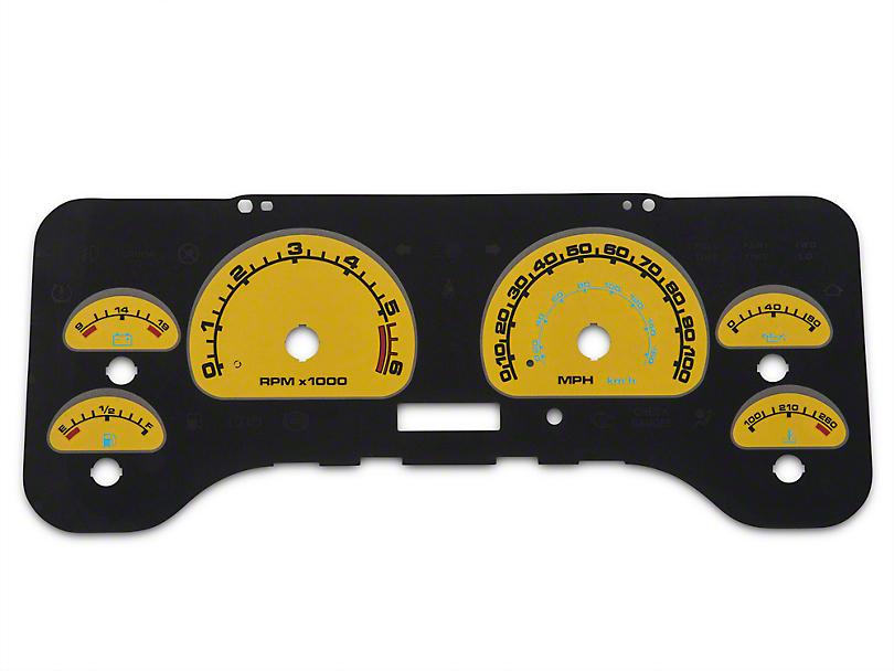 US Speedo Daytona Edition Gauge Face Full Time Icon - Yellow / Blue Night (01-06 Wrangler TJ)