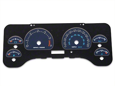 US Speedo Daytona Edition Gauge Face Full Time Icon - Blue / Blue Night (01-06 Wrangler TJ)