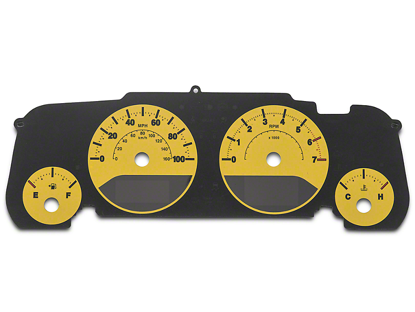 US Speedo Daytona Gauge Face Kit - Yellow / Blue Night (07-18 Wrangler JK)