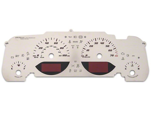 US Speedo Stainless Edition Gauge Face; Red (07-18 Jeep Wrangler JK)