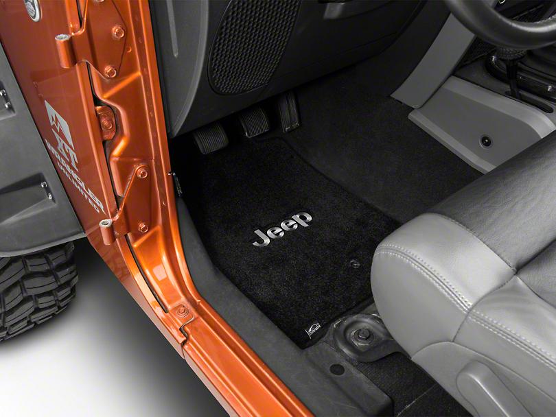 Lloyd Ultimat Front & Rear Black Floor Mats - Jeep Logo (11-13 Jeep Wrangler JK 4 Door)