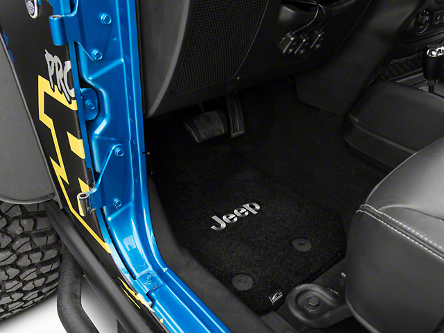 Lloyd Ultimat Front & Rear Black Floor Mats - Jeep Logo (14-18 Wrangler JK 4 Door)