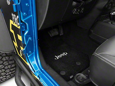 Lloyd Ultimat Front & Rear Black Floor Mats - Jeep Logo (14-17 Wrangler JK 4 Door)