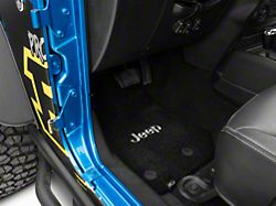 Lloyd Ultimat Front and Rear Floor Mats with Jeep Logo; Black (14-18 Jeep Wrangler JK 4 Door)