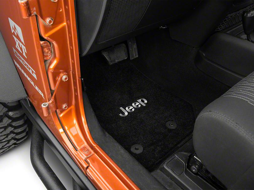 Lloyd Ultimat Front & Rear Floor Mats w/ Jeep Logo - Black (14-18 Jeep Wrangler JK 2 Door)