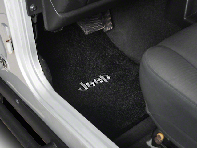 Lloyd Ultimat Front & Rear Black Floor Mats - Jeep Logo (03-06 Jeep Wrangler TJ)