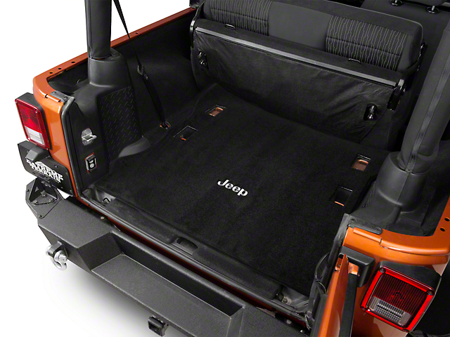 lloyd wrangler ultimat black cargo mat jeep logo j102922. Black Bedroom Furniture Sets. Home Design Ideas