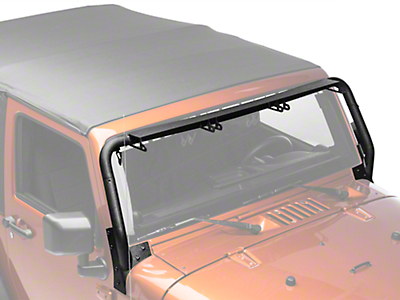 Rugged Ridge Tubular Windshield Mounted Light Bar for Three 13.5 in. LED Light Bars (07-18 Jeep Wrangler JK)