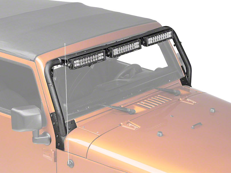 Rugged Ridge 13.5 in. LED Light Bars w/ Windshield Mounted Light Bar (07-18 Jeep Wrangler JK)