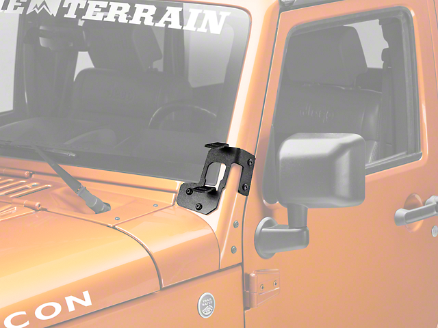 Rugged Ridge Dual A-Pillar Light Mounting Brackets; Textured Black (07-18 Jeep Wrangler JK)