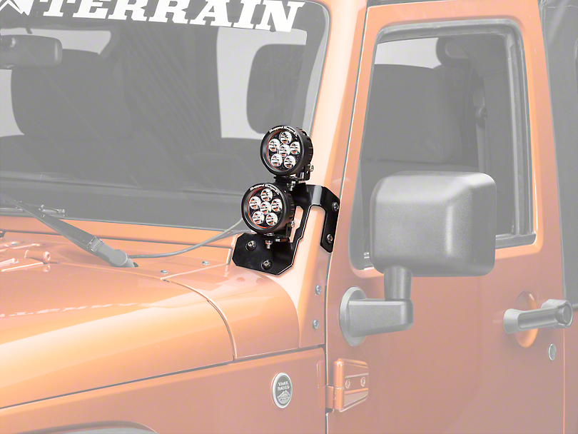 Rugged Ridge 3.5 in. Round LED Lights w/ Semi-Gloss Black Dual A-Pillar Light Mounting Brackets (07-18 Wrangler JK)