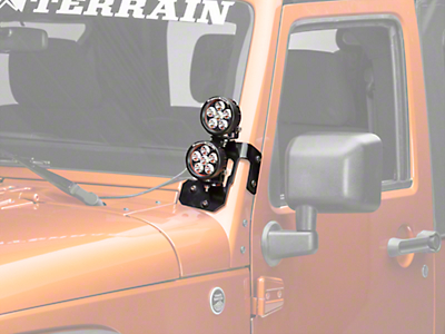 Rugged Ridge 3.5 in. Round LED Lights w/ Semi-Gloss Black Dual A-Pillar Light Mounting Brackets (07-18 Jeep Wrangler JK)