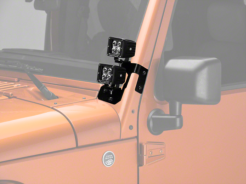 Rugged Ridge 3 in. Square LED Lights w/ Semi-Gloss Black Dual A-Pillar Light Mounting Brackets (07-18 Jeep Wrangler JK)