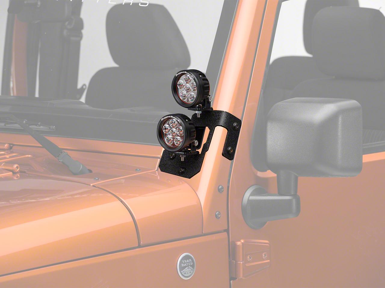Rugged Ridge 3.5 in. Round LED Lights w/ Textured Black Dual A-Pillar Light Mounting Brackets (07-18 Jeep Wrangler JK)