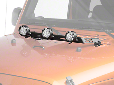 Rugged Ridge 3.5 in. Round LED Lights w/ Textured Black Hood Mounted Light Bar (07-18 Jeep Wrangler JK)