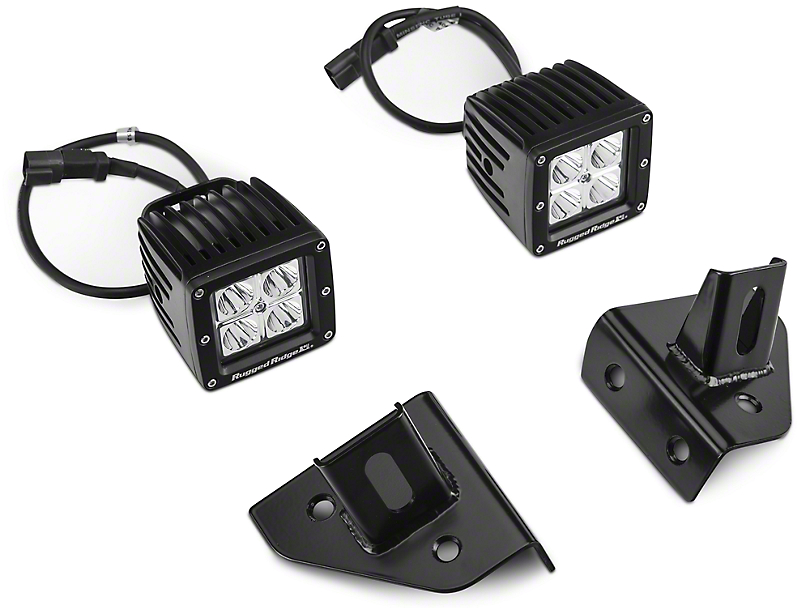 Rugged Ridge 3-Inch Square LED Lights with Windshield Mounting Brackets (87-95 Jeep Wrangler YJ)